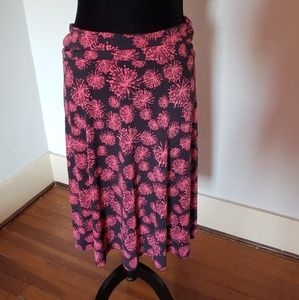 L LuLaRoe midi skirt with pink bursts of color